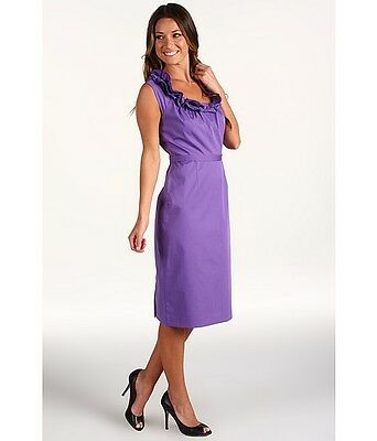Sz 16,8 Elie Tahari Purple Ruffle Trim Neckline Roxanna Poplin Dress $348