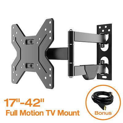 "Tilt Swivel Full Motion TV Wall Mount Bracket for 17 19 32 37 39 42"" inch TV"
