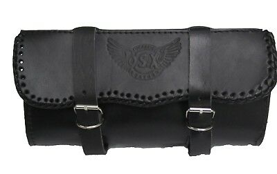 All Black Leather Motorcycle Motorbike Universal Tool Roll Saddle Bag OSX AC-11