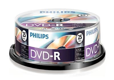 Philips DVD-R 120 Mins 4.7GB 16x Speed Recordable Blank Discs - 25 Pack Spindle