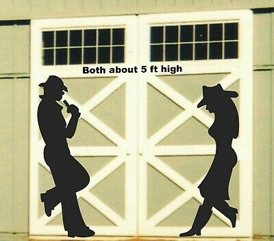 LEANING COWBOY & COWGIRL SILHOUETTE woodworking pattern , plan ,2 in this set