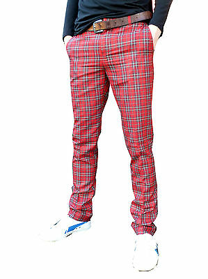 Tartan trousers skinny jeans vtg golf 60's indie mod Red checked punk pants new