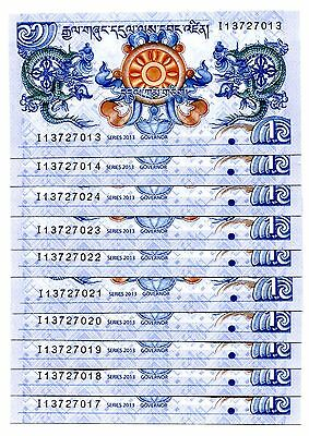 Bhutan 1 Ngultrum 2013 P-27 Unc Lot 10 Pcs