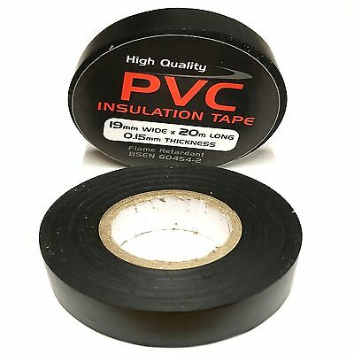 Black Electrical PVC Insulation Tape - Insulating 19mm x 20m Flame Retardant