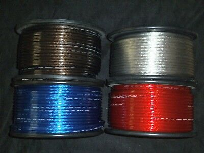 8 Gauge Wire 50 Ft Each Red Black Blue Silver Awg Cable Battery Stranded Car
