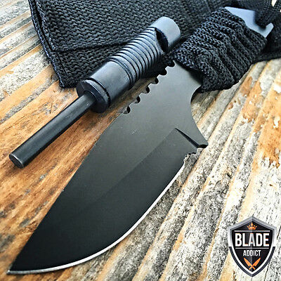 "7"" FIRE STARTER + WHISTLE FIXED BLADE CAMPING SURVIVAL HUNTING KNIFE TANTO Boot"