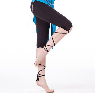 Belly Dance Costume Safety Pants Trousers with Straps Leg Bands with Rhinestones