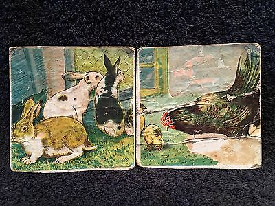 2 Vintage Litho Printed Pictures Easter Bunny Rabbits Chicken Hen Chick