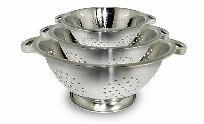 ExcelSteel Stainless Steel Colanders, Set of 3 (731) 1, 2.5, 4-Quart sizes NEW