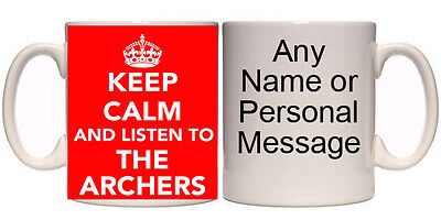 KEEP CALM & LISTEN TO THE ARCHERS PERSONALISED MUG & COASTER (K1)11oz-15oz GIFT