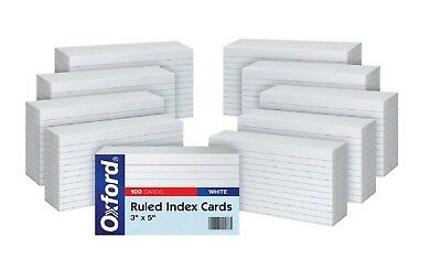 Oxford Ruled Index Cards, 3 x 5 Inches White, 10 Packs of 100 - OXF31