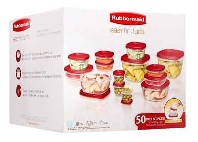 Rubbermaid Easy Find Lids 50 piece Food Storage Clear Boxes Set. Brand New!!