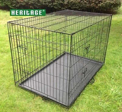 """Heritage X/Large Dog Cage Crate 42"""" Puppy Kennel Training Metal Folding Cages"""