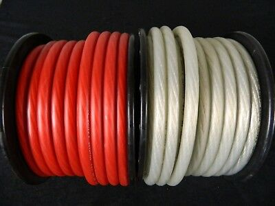 0 Gauge Wire 50 Ft 25 Red 25 Silver Superflex 1/0 Awg Power Ground Stranded