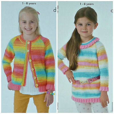 KNITTING PATTERN Girls Long Sleeve Cardigan & Tunic with Frills DK KC 4095