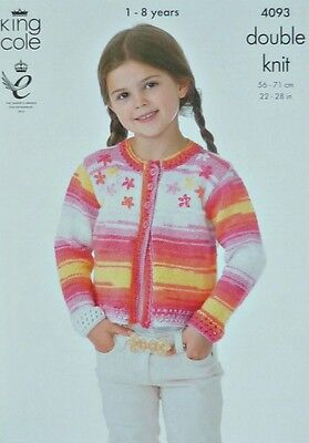 KNITTING PATTERN Childrens Long Sleeve Round Neck Cardigan DK King Cole 4093