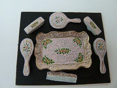 Dolls House Miniature 1:12 Scale Hand Painted Bedroom Pink Dressing Table Set