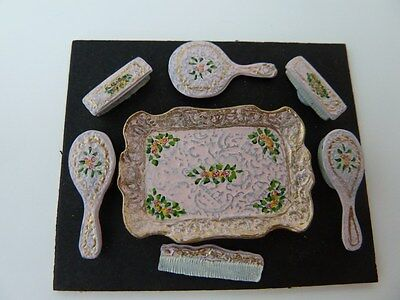 Dolls House Miniature Hand Painted Pink Dressing Table Set