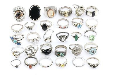 LOT of 30 Vintage Sterling Silver Rings / Bands 114.1 grams