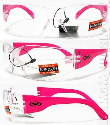 Global Vision Rider Neon Hi Viz Hot Pink Clear Lens Safety Glasses Womens Z87+