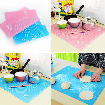 Silicone Rolling Fondant Clay Pastry Cake Tool Sugarcraft Cut Mat Knife Board FL
