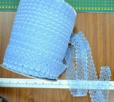 Uni-Trim Feather Edge Eyelet Lace, 37mm, SAXE BLUE, Per 10 metre length