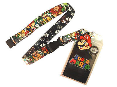 Super Mario All Over Print Rubber Face Charm Lanyard Badge Id Holder Keychain