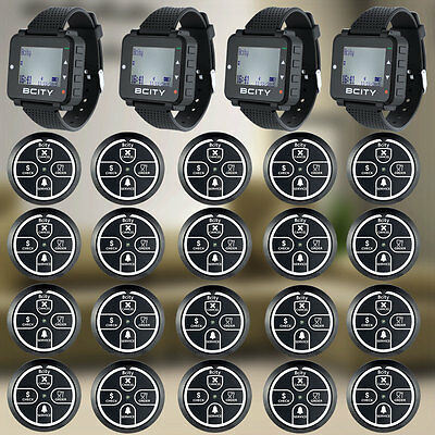 Wireless Pager Calling Service Systems 20 Four-Button Pagers 4 Watches Receiver