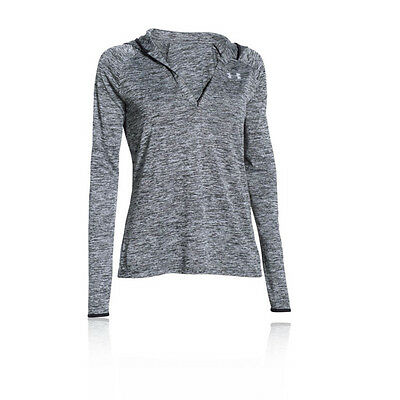 Under Armour Tech Womens Grey Long Sleeve V Neck Sports Hoodie Hoody Top