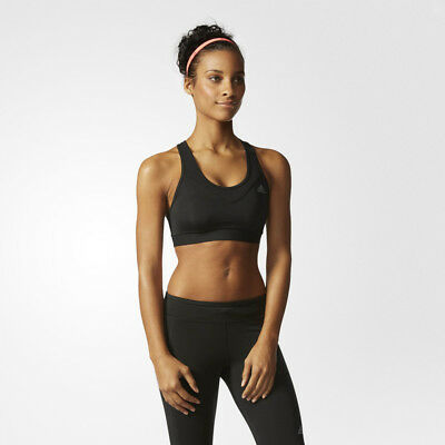 Adidas TechFit Solid Womens Black Climacool Running Sports Bra Support Top