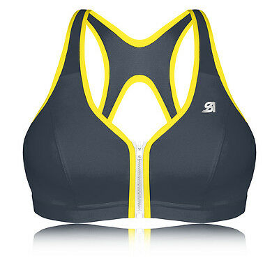 Shock Absorber Active Zipped Plunge Womens Yellow Black Support Sports Bra