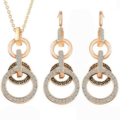 New Women's Crystal Rhinestone Gold Plated Pendant Necklace Earrings Jewelry Set
