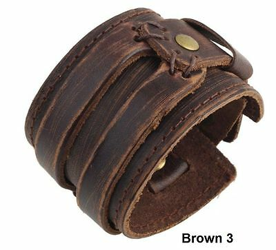 Mens Womens Real Brown Leather Surfer Bracelet Surf Wristband Cuff MB01