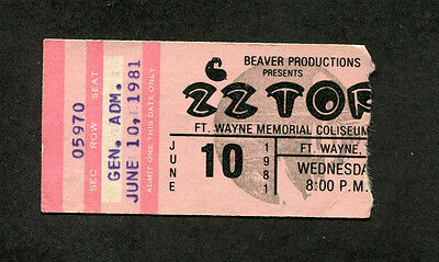 1981 ZZ Top Concert Ticket Stub Fort Wayne IN El Loco Motion