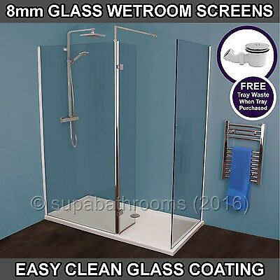 Wet Room Walk In Shower Enclosure Cubicle Metro 8mm Glass Screen Side Stone Tray