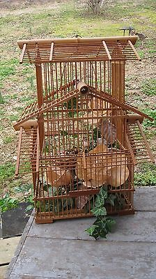 Vintage Mid Century Bamboo Bird Cage Home & Garden Hanging Plant Basket Stand