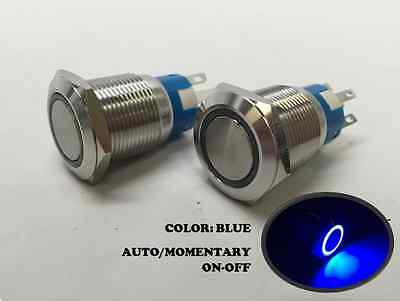 2 of MARINE SS304 BLUE LED 12V FLUSH LIGHT AUTO ON-OFF PUSH SWITCH RING BUTTON
