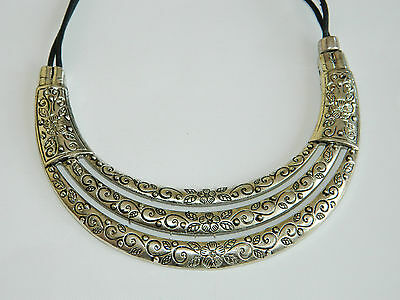 Vintage Style Antique Silver Triple Levels Fashionable Chokers Necklaces N65