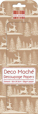 3 Sheets Of Decoupage / Deco Mache Paper First Edition Kraft Stag