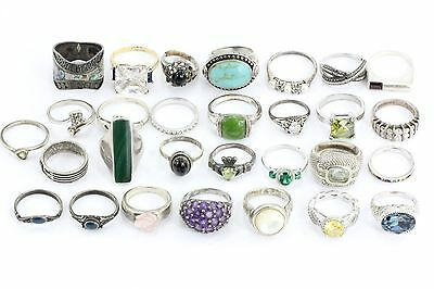 LOT of 30 Vintage Sterling Silver Rings / Bands 126.4 grams