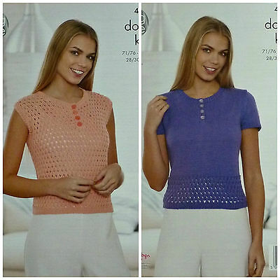 KNITTING PATTERN Ladies Short Sleeve/Sleeveless Button Neck Lace Top DK 4519