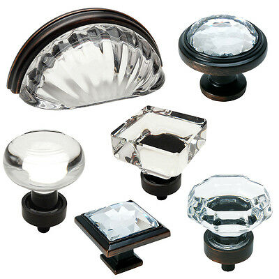 Cosmas Clear-Oil Rubbed Bronze Glass Cabinet Knobs, Cup Pulls & Hinges
