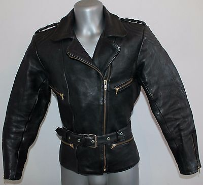 Mens  Jacket Vintage 100% Leather Biker Cafe Racer Moto Punk Baseball  Size 42