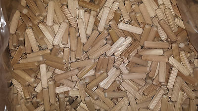 "1/2"" x 2"" grooved fluted wooden dowel pin 50, 100, 250, 500, 1000, wood pieces"