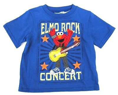 Sesame Street Elmo Rock Concert Short Sleeve Blue T-Shirt Toddler Boys 2T 3T 4T