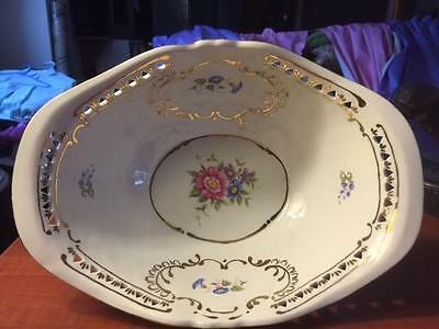 Hollohaza Hungary  Hand Reticulated Footed Oval Floral Bowl