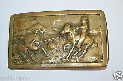 Vintage 1950's Rodeo Brass Cowboy Western Belt Buckle Calf Roping Steer Wrestler