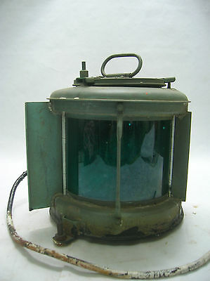 Vintage Copper Ship's Light  Lamp Electric Green Japanese  #13