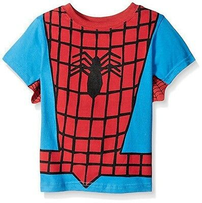 Spider Man Marvel Short Sleeve Blue Winged T-Shirt Toddler Boys 2T 3T 4T New