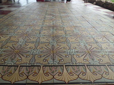 ANTIQUE ENCAUSTIC TILES Panel 336 pcs 146¨ x 85¨ Floor or Wall (cod ...